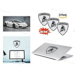 Lamborghini Logo Stickers Decal - Set of 3 Decals - High Resolution, Superior Finish and Transparent Background - Ideal for Car, Motorcycle, Laptop, Macbook, iMac, Windows and Wall Art
