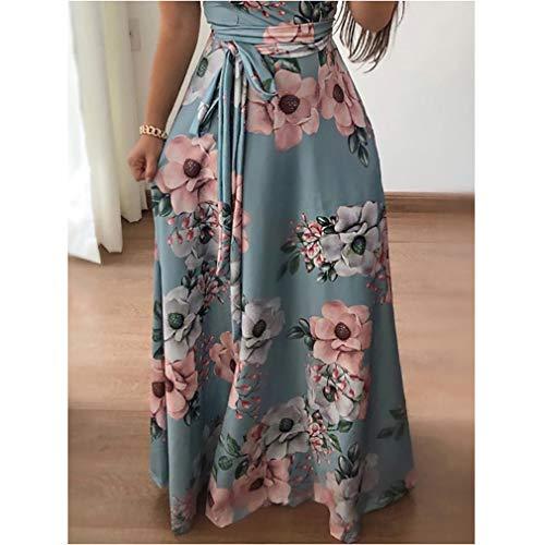 Cuello Redondo Larga Azul de Floral Falda de Vestido Mujeres 6XL Slim Fit Playa Vestido Cinturón Vestido Print de A S Retro qSzg5Cx