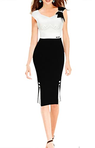 LECHEERS Women Colorblock Bodycon Business Formal Party Pencil Dress
