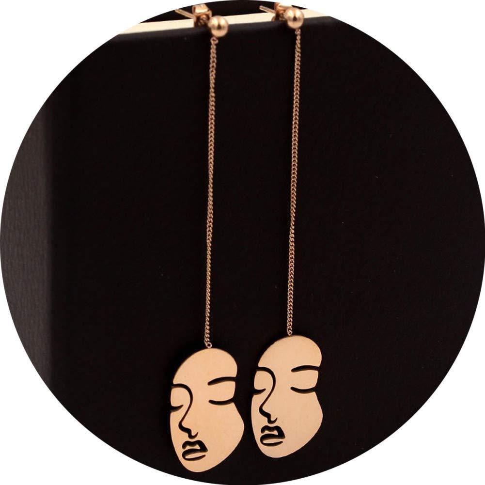 Titanium Steel Rose Gold Plated Statement Hollow Human Face Shape Earrings Geometric Dangle Stud Earrings