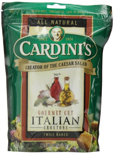 Cardini's Gourmet Cut Croutons, Italian, 5-Ounce Bags (Pack of 12) by Cardini's
