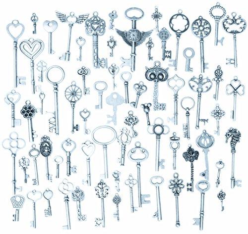 Kingree 69pcs Antique Silver Vintage Skeleton Keys Charm Set DIY Handmade Accessories Necklace Pendants [69PC Keys-Silver] from KINGREE