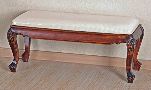 International Caravan 3885-IC Furniture Piece Carved Foot of Bed Bench, 0