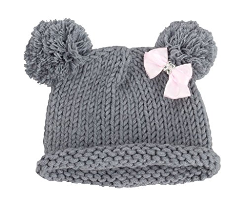zefen Bestknit Baby Girls Pompom Hat Props Crochet Knitted Pom Pom Hat Bow Beanie Medium (Baby Pom Pom Yarn)