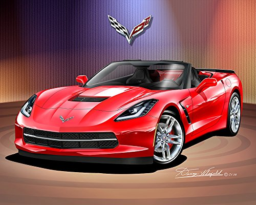 2014 - 2015 CORVETTE CONVERTIBLE - TORCH RED - ART PRINT POSTER BY ARTIST DANNY WHITFIELD - SIZE 24 X 36