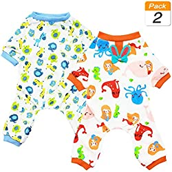 Scheppend 2-Pack Pet Clothes Puppy Cute Pajamas Dogs Cotton Rompers Cats Jumpsuits Cosy Apparel Dog Shirt Small Canine Costumes, Bluehorse & Mermaid L