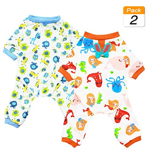 Scheppend 2-Pack Pet Clothes Puppy Cute Pajamas Dog Cotton Body Suit Cats Jumpsuits Cozy Apparel Dogs Pjs Small Canine…