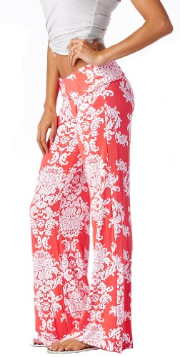 Popana Damask Palazzo Pants - Made In USA coral large