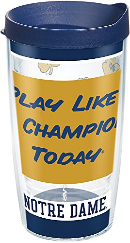 Tervis 1275573 Notre Dame Fighting Irish Play Like a Champion Today Tumbler with Wrap and Navy Lid 16oz, Clear