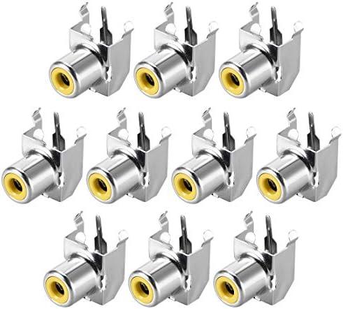 uxcell PCBパネルマウント シングルRCAソケットメスジャック オーディオビデオAVコネクタ シルバートーン 10個