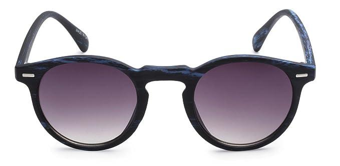 050cf3ea4e Eason Eyewear Men Women s Vintage Fashion Inspired Round Sunglasses 45 mm  Blue Wood Print
