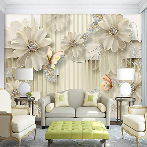 hwhz Custom Wall Mural European Style 3D Golden Flowers Background Home Decoration Painting Living Room Wallpaper Wall Covering Paper-200X247Cm