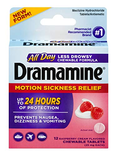 Dramamine All Day Less Drowsy Motion Sickness Relief | 12 Count Chewable Tablets ()