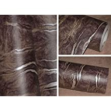 Brown Marble Contact Paper Self Adhesive Film Vinyl Granite Shelf Liner for Covering Counter Top Kitchen Cabinet Backsplash (24''x78.6'')