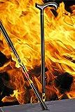 Bastón Carbon Derby Flames, elegante Derby Mango de carbono, apliques a un bastón de fibra de carbono con extravagentem Llama Patrón, altura regulable, incluye Delgado búfer.