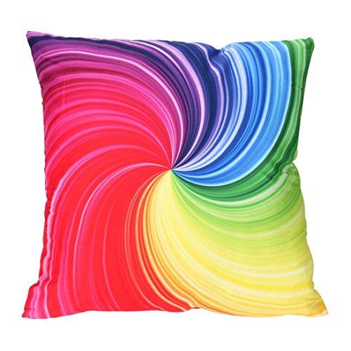 (Leyorie Multicolor 3D Print Pillow Cases Polyester Sofa Car Cushion Cover Home Decor (E))