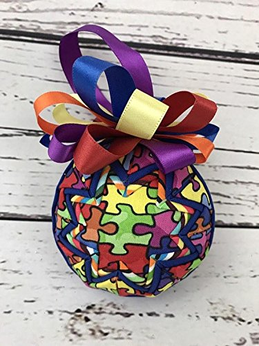 Autism Awareness puzzle piece fabric quilted ornament