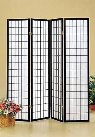 Legacy Decor 4 panel Shoji Screen Room Divider, Black (Wide Room Divider)