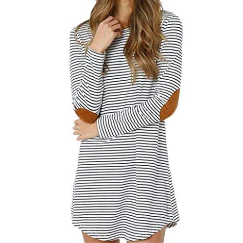 Length Sleeve Tie (Dressin Women Crew Neck Long Sleeve Striped Loose T-Shirt Mini Dress (White, XL))