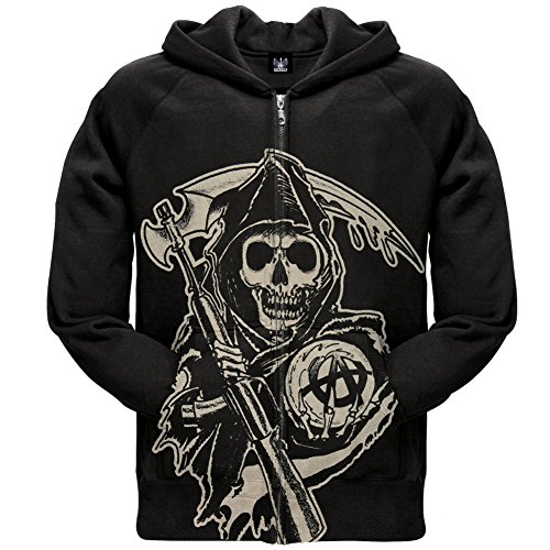 Sons Of Anarchy Muted Reaper Soa Officially Licensed Adult Zip Up Hoodie Samcro Xl