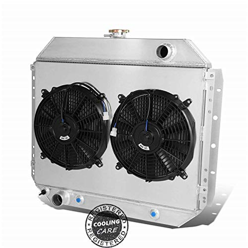 CoolingCare 3 Row Core Aluminum Radiator+ Shroud+ 2X12''Fan for Ford F100 F150 F250 F350 Truck Pickup 1966-79