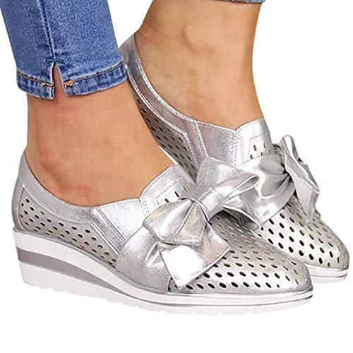 Cenglings Womens Casual Round Toe Breathable Wedges Loafers Bowknot Hollow Out Walking Shoes Beach Casual Platform Sandals Silver