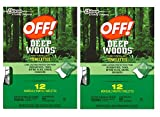 Off! Deep Woods Insect Repellent Wipes, 12 Towelettes (Pack of 2)