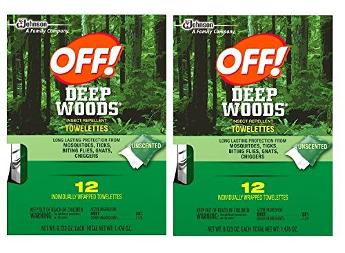 Off! Deep Woods Insect Repellent Wipes, 12 Towelettes (Pack of 2) (Wood Towelettes)