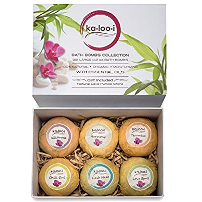 Bath Bombs Gift Set Premium 6 Pack Essential Oils Lush in a Deluxe Package 100% Organic Vegan Ingredients Fizzies for Home Spa Skin Hydration Relaxation & Wellness w/ Free Bonus Natural Pumice Stone