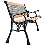 USA_BEST_SELLER Outdoor Cast Iron Patio Bench Outside Garden Seating Benches