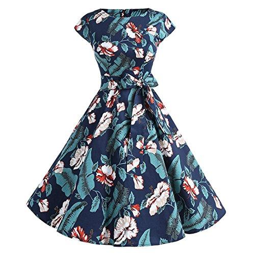 Womens Dresses,YKA Girl Vintage Floral Evening Party Beach Prom Swing Skirt For Ladies (Navy, (V-neck Muumuu)