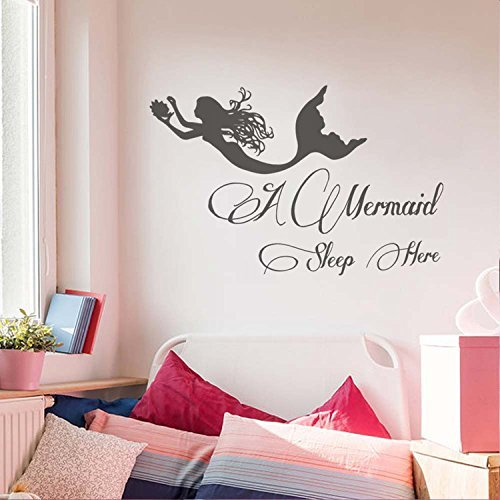 Hope Calendar Print (Little Mermaid Wall Decal- A mermaid sleep here- Mermaid Girl Nursery Wall Art Decor- Mermaid Decal Girls Bedroom Wall Decor(Black, 37