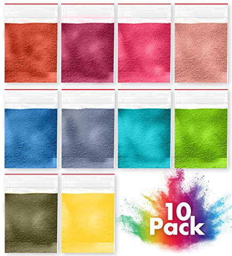 Two-in-one Mica Powders for Bath Bombs, Slime and Crafts by Creative Lily – Scented Powdered Pigments –– Set of 10 Unique Fragrances and Colors – for Kids and Adults – Use with Bath Bomb Molds (Vert Bath)