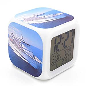 Bofy led alarm clock cruise ship blue pattern personality creative noiseless multi - Unique alarm clocks for teenagers ...