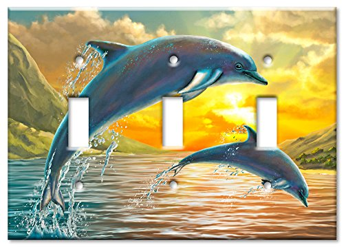 Art Plates Brand Triple Toggle Switch / Wall Plate - Dolphins At Sunset (Dolphin Switchplate)