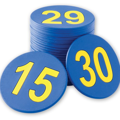 5 in. Numbered (1-30) Poly Spots - Numbered Poly Spots Set