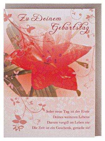 Geburtstagskarte Blume mit Spruch: Amazon.de: Bürobedarf & Schreibwaren