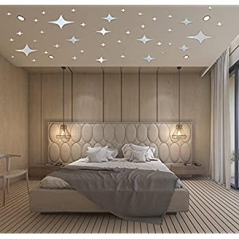 Mirror Wall Sticker Home Inspira Silver Stars Decor