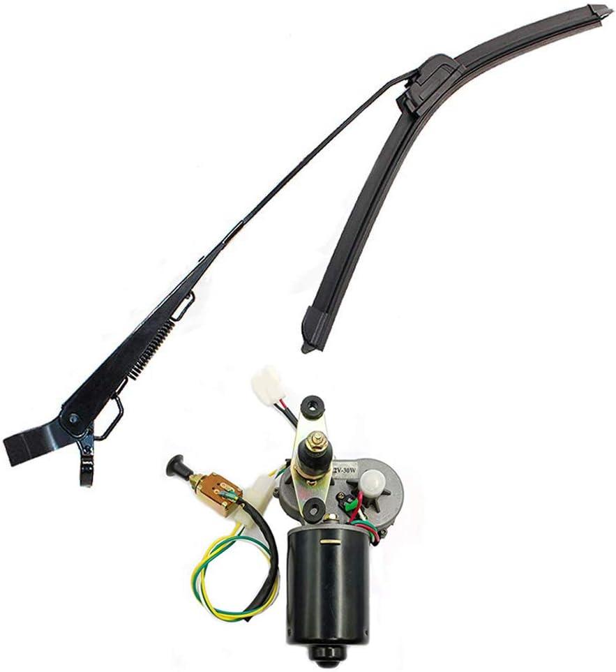 400mm Wiper Blade and 12V Motor Kit 12Volt Electric UTV Windshield Wiper Motor Kit,Fits Polaris Ranger RZR 900 1000,Hard Coated Or Glass Windshields Universal Windshield Wiper Arm