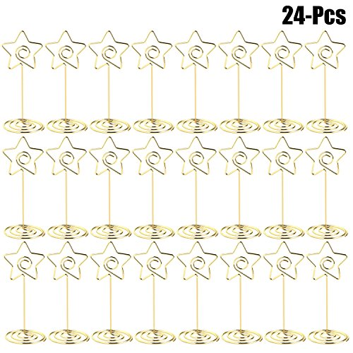 (Outgeek Table Number Holders, 24 Pack Table Name Place Card Holder Star Shape Memo Clips Picture Photo Holder Stands for Wedding Party Restaurant Office)