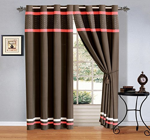 Embroidered Grommet Luxury curtain Drapes