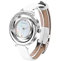 AIKURIO Women Ladies Wrist Watch Waterproof Design with Alloy Case Leather Strap and Japanese Movement (White Band&Silve Case)
