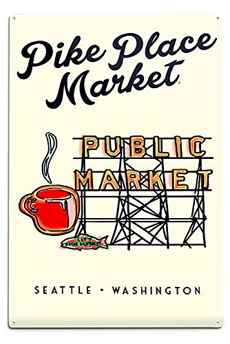 Lilyanaen New Great Seattle Washington Pike Place Market Sign Aluminum Wall Sign Wall Decor Ready to Hang for Outdoor & Indoor 12 x 18 in ()