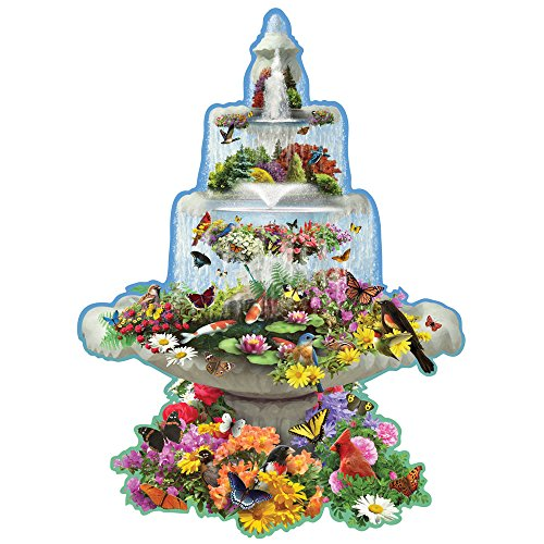 Bits and Pieces - 750 Piece Shaped Puzzle - Fountain Fantasy, Beautiful Birds and Butterflies - by Artist Alan Giana - 750 pc Jigsaw