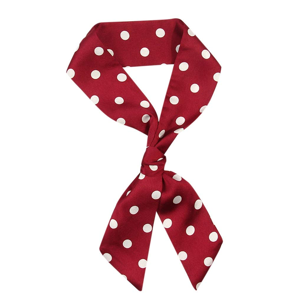 Scarfs Women Ladies Dot Print Scarf Wrap Shawls Soft Silk Scarf Ribbon Headwear for Ladies and Girls