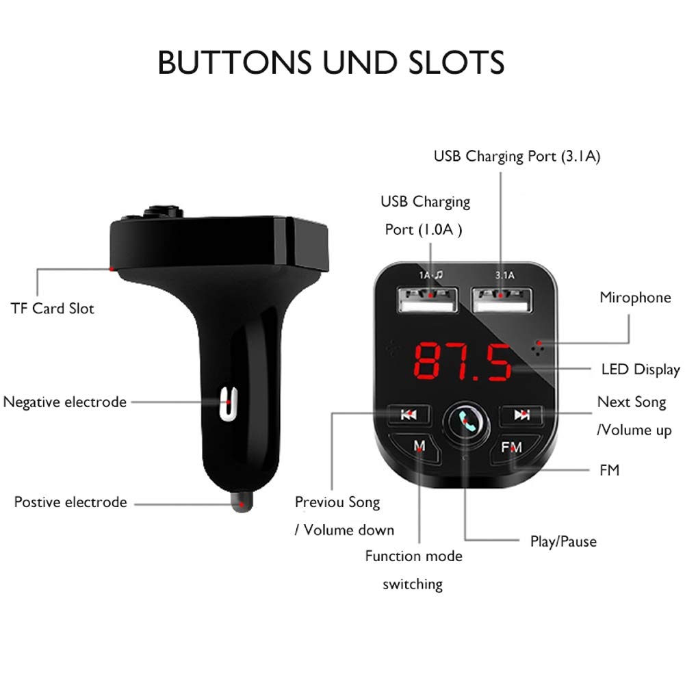 U Disk USB Cable Hands Free Calling 3.1A//1A Wireless in-Car FM Radio Adapter Car Kit with Dual USB Charging Ports TF Card Music Player for All Smartphones Bluetooth FM Transmitter for Car