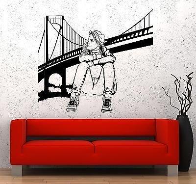Wall Decal New York Brooklyn Bridge Sexy Girl Vinyl Sticker VS3619