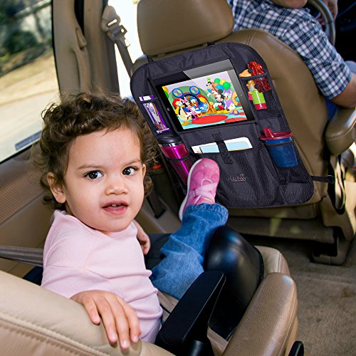 Mom's Besty Car Back Seat Organizer for Kids and Toddlers - Touch Screen Tablet Holder for Android & iOS Tablets - Multipurpose Use as Auto Seat Back Protector, Kick Mat, Car Organizer by Mom's Besty (Image #5)