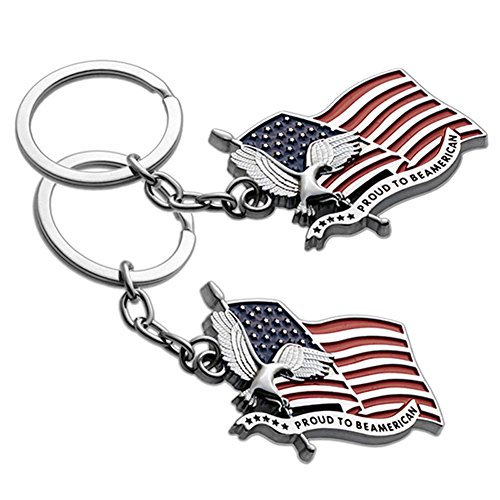Lot of 2 USA US Proud to be American Flag & Eagle Patriotic Medal Keychain Ring - (Usa Key)