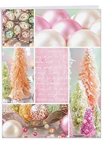 Extra Large Christmas Card - 'Pastel Noel' Featuring Pink Decorations Laid Out for Christmas Holidays With Envelope Big Size 8.5 x 11 Inch - Happy Holidays, Merry Christmas Greetings J6714AXSG (Snowman Jewels Christmas)